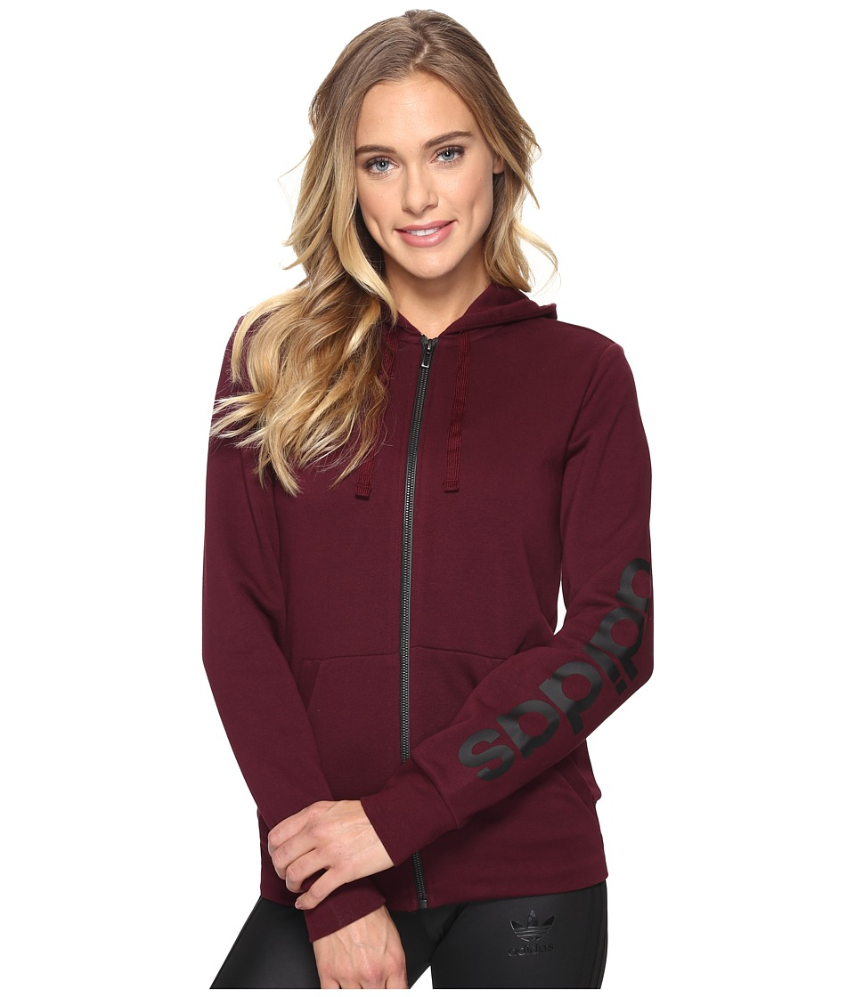 adidas - Essentials Linear Full Zip Hoodie (Maroon) Women's Sweatshirt
