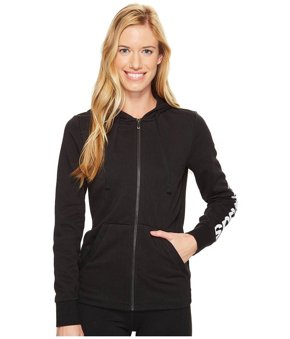 adidas - Essentials Linear Full Zip Hoodie (Black/White) Women's Sweatshirt