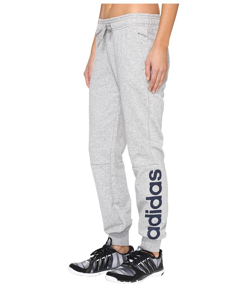 adidas - Essentials Linear Pants (Medium Grey Heather/Collegiate Navy) Women's Casual Pants