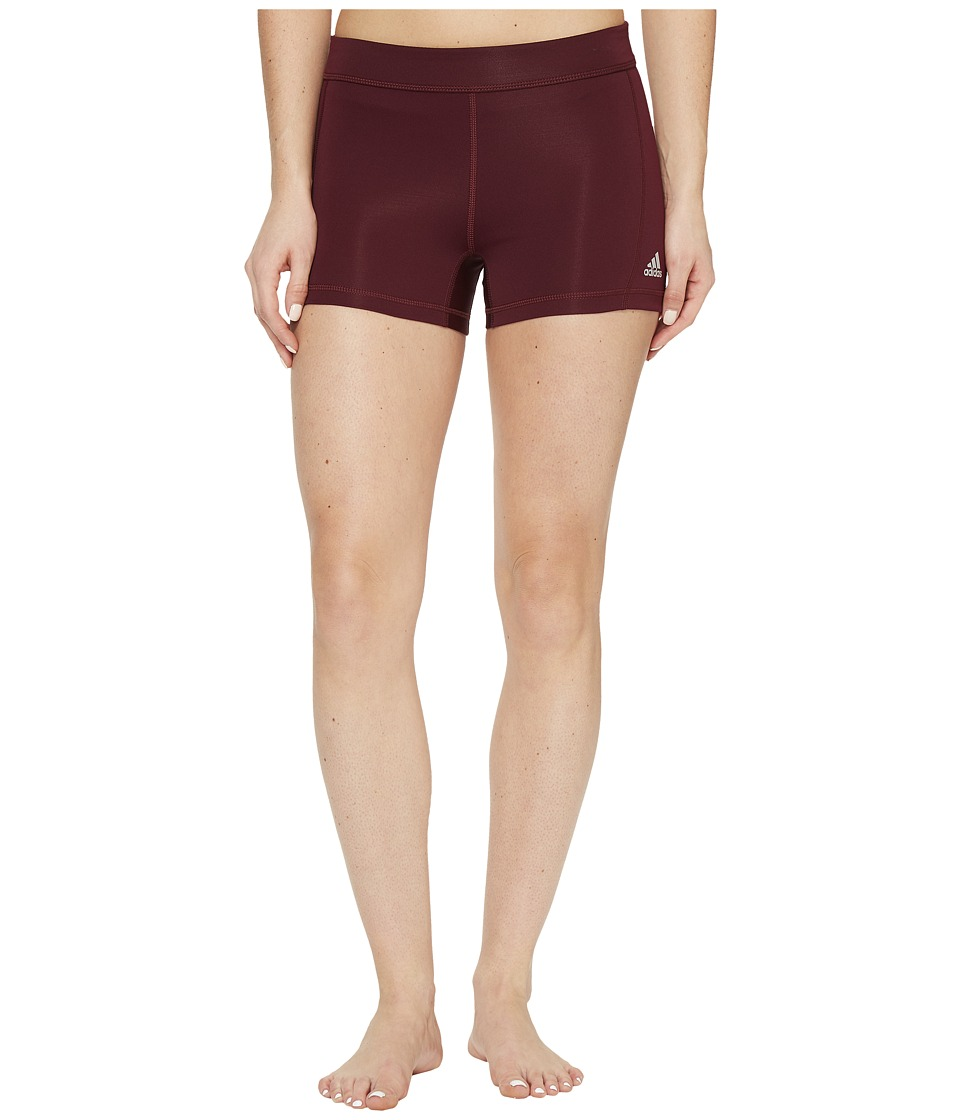 adidas Techfit 3 Short Tights (Maroon/Matte Silver) Women