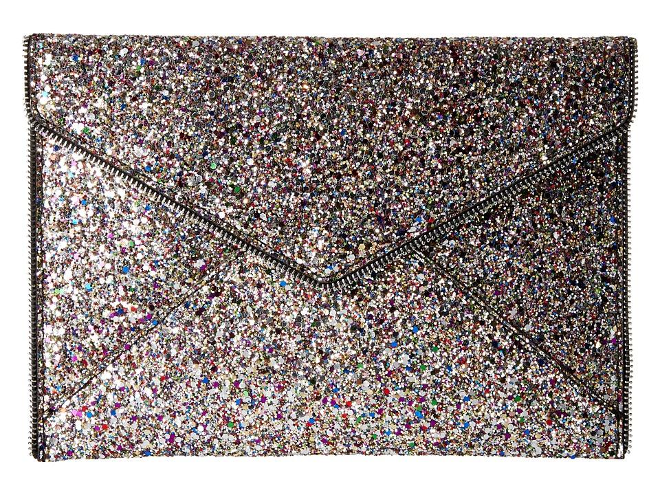 Rebecca Minkoff - Glitter Leo Clutch (Silver Multi) Clutch Handbags