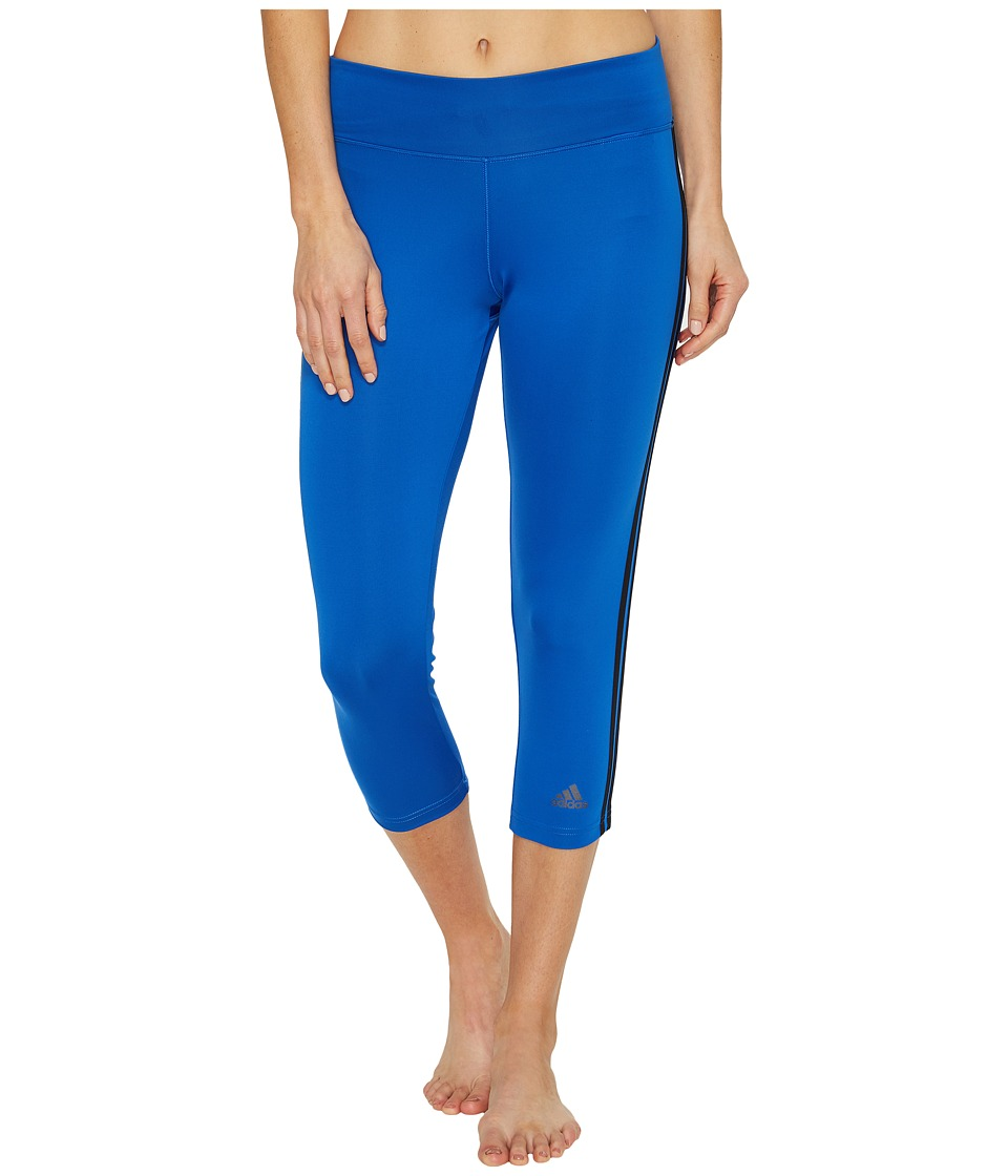 adidas - Designed-2-Move 3-Stripes 3/4 Tights (Blue/Black) Women's Casual Pants