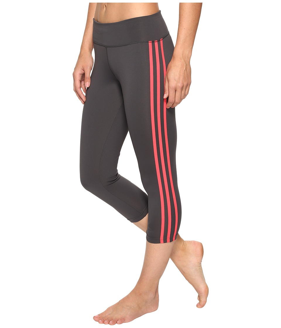adidas - Designed-2-Move 3-Stripes 3/4 Tights (Dark Grey Heather Solid Grey/Core Pink) Women's Casual Pants