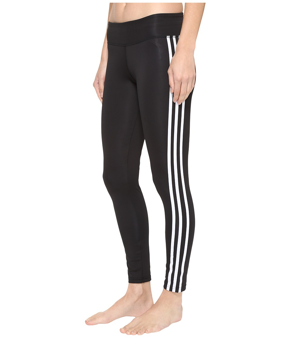 adidas - Designed-2-Move 3-Stripes Long Tights (Black/White) Women's Casual Pants