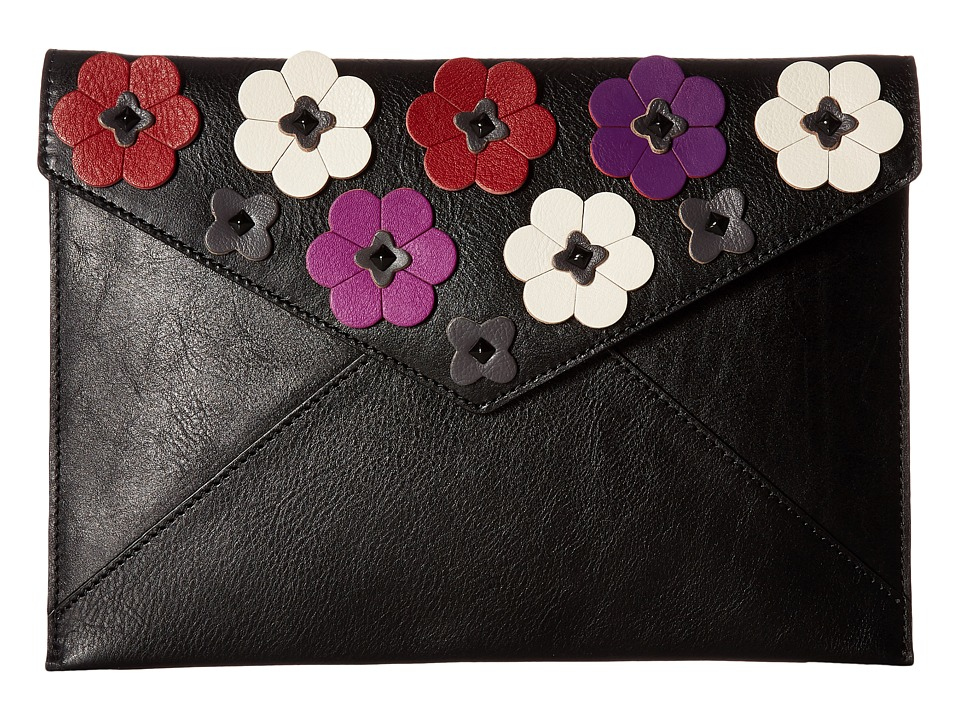 Rebecca Minkoff - Floral Applique Leo Clutch (Black Multi) Clutch Handbags
