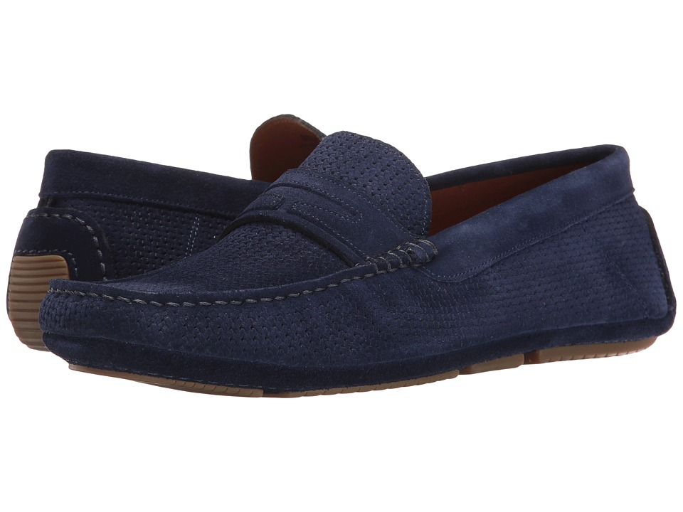 Aquatalia - Bruce (Light Navy Embossed Suede) Men's Slip on Shoes