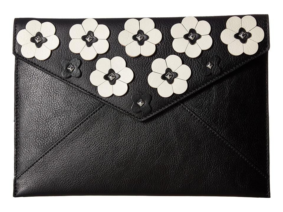 Rebecca Minkoff - Floral Applique Leo Clutch (Black) Clutch Handbags
