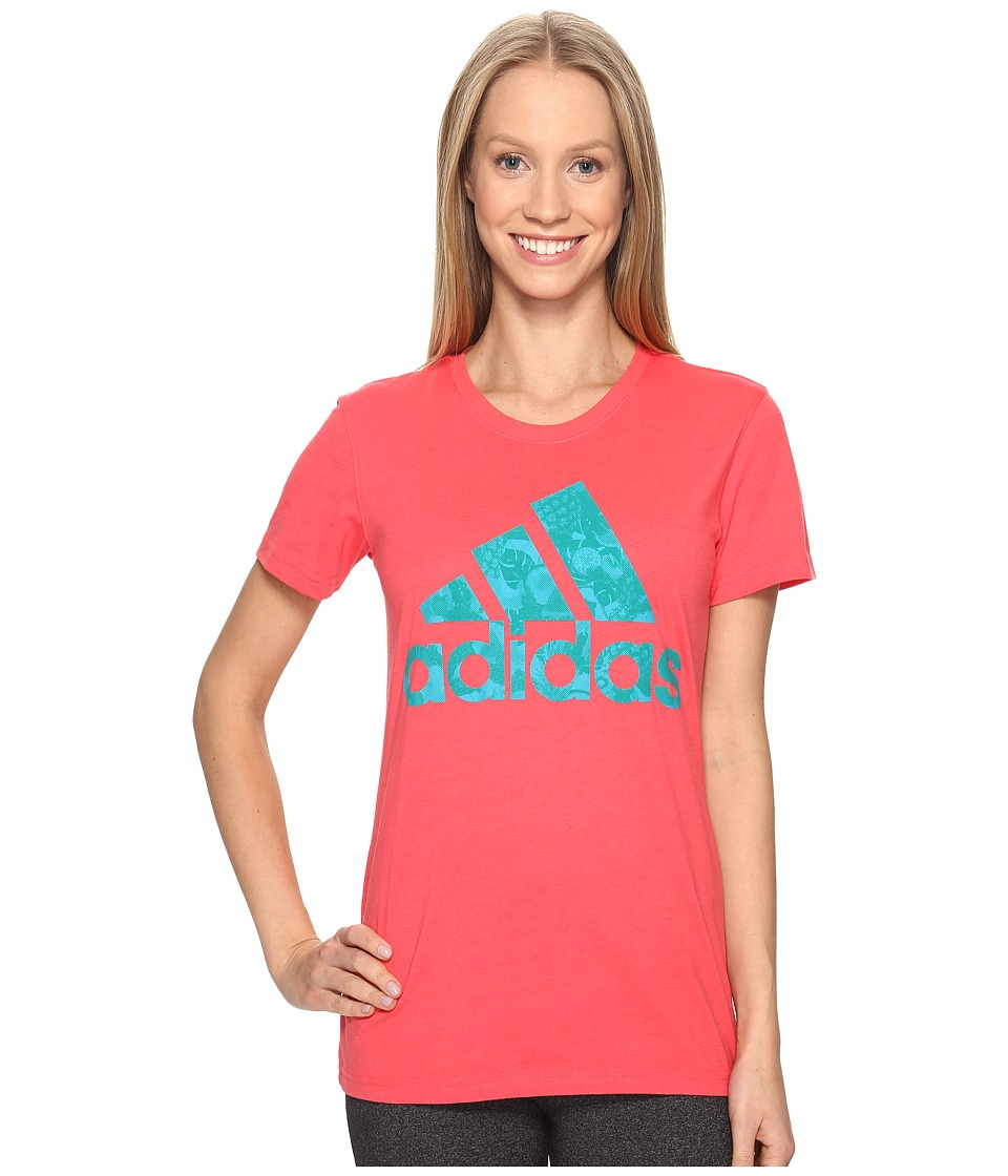 adidas - Badge Of Sport Smoothie Tee (Shock Red/Lab Green) Women's T Shirt