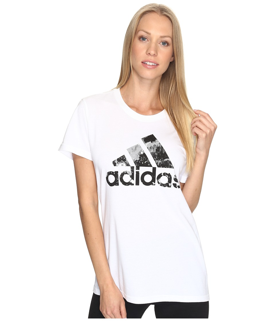 adidas - Badge Of Sport Raw Tee (White/Black) Women's T Shirt