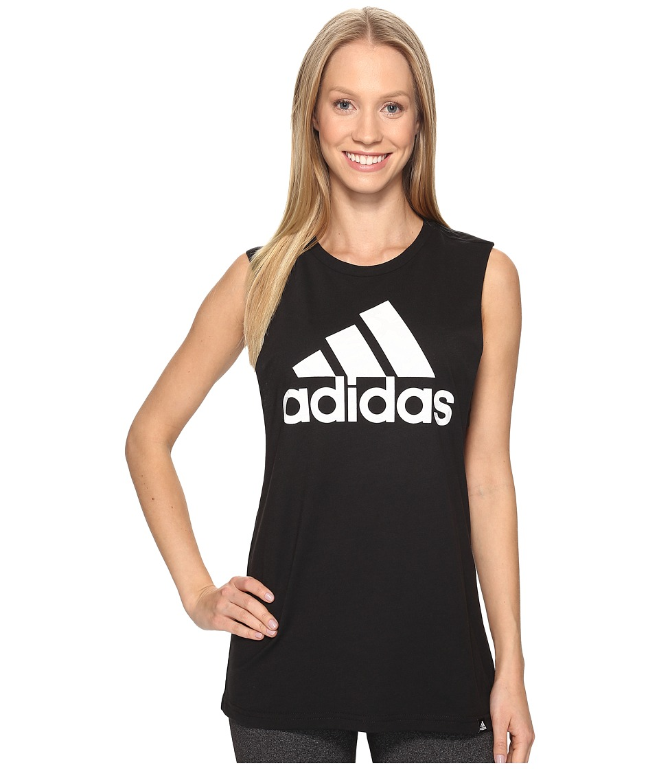 adidas - Badge Of Sport Brushstroke Muscle Tank Top (Black/White) Women's Sleeveless