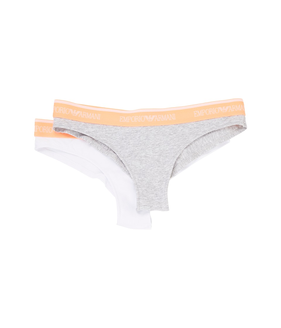 Emporio Armani - Iconic Logo Band 2-Pack Brazilian Brief (Melange Grey/White) Women's Underwear