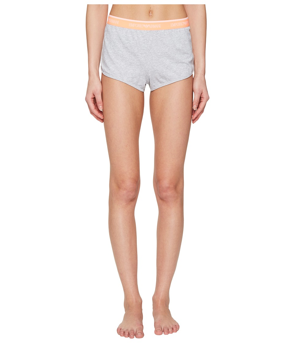 Emporio Armani - Iconic Logo Band Shorts with Logo Waistband (Melange Grey/Melon) Women's Underwear
