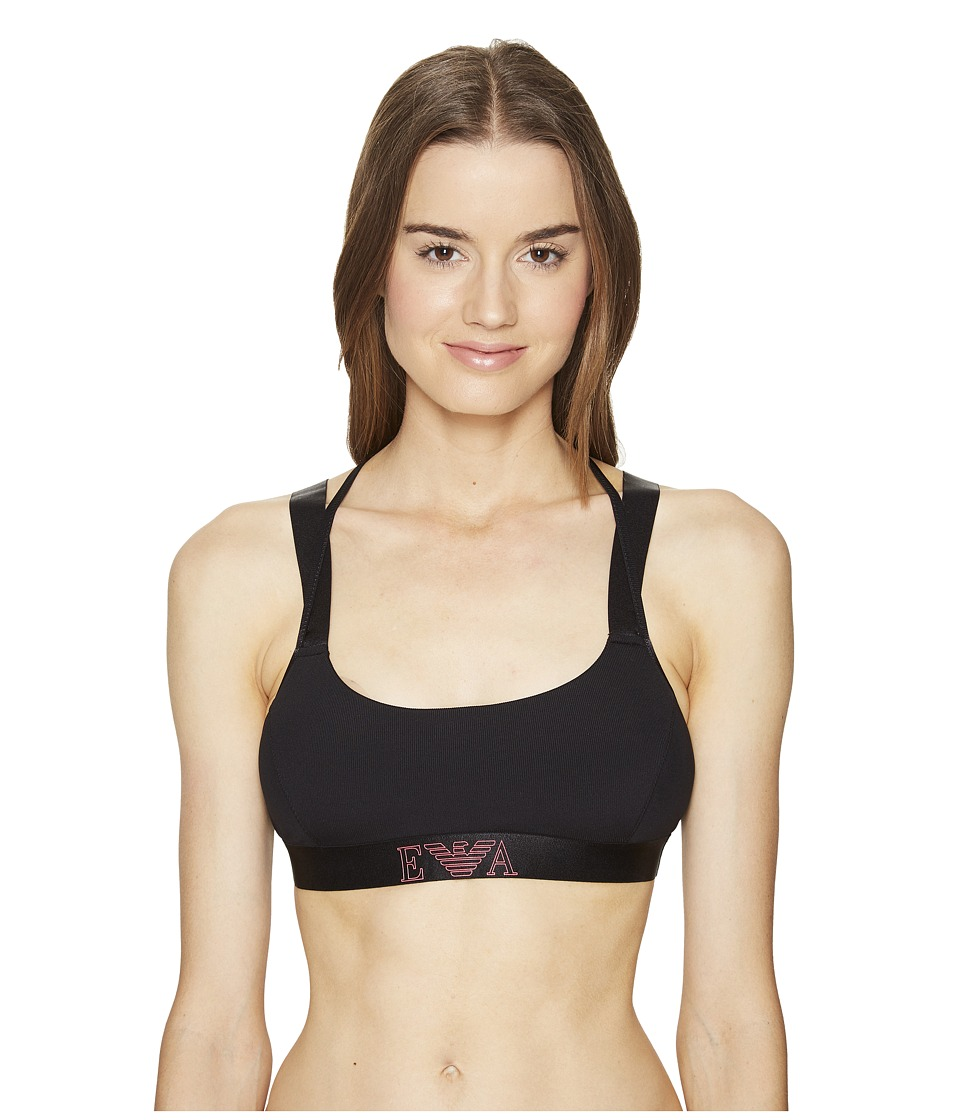 Emporio Armani - Visibility Sport Lightly Padded Sports Bra (Black) Women's Bra