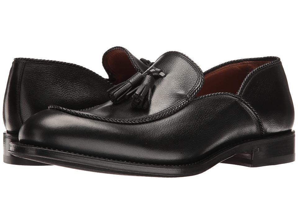 Aquatalia - Vigo (Black Textured Dress Calf) Men's Slip on Shoes