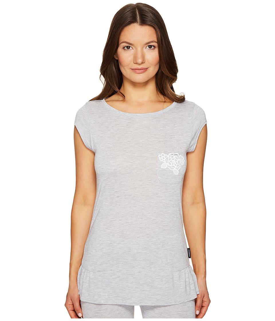 Emporio Armani - Neo Romantic Macrame Viscose Lounge Cap Sleeve Top (Grey Melange) Women's Clothing