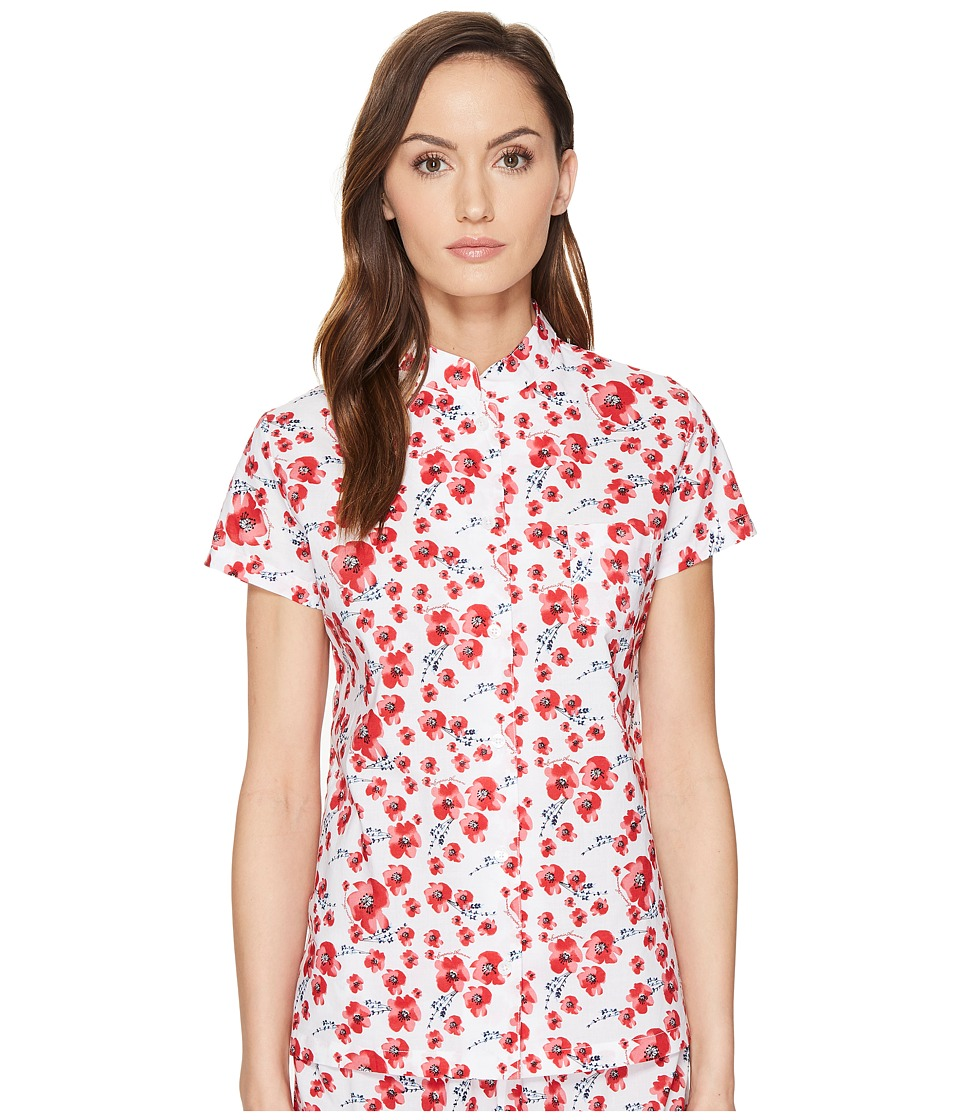 Emporio Armani - Poppy Dream Cotton Loungewear Button Down Sleep Shirt (Poppy Print) Women's Pajama