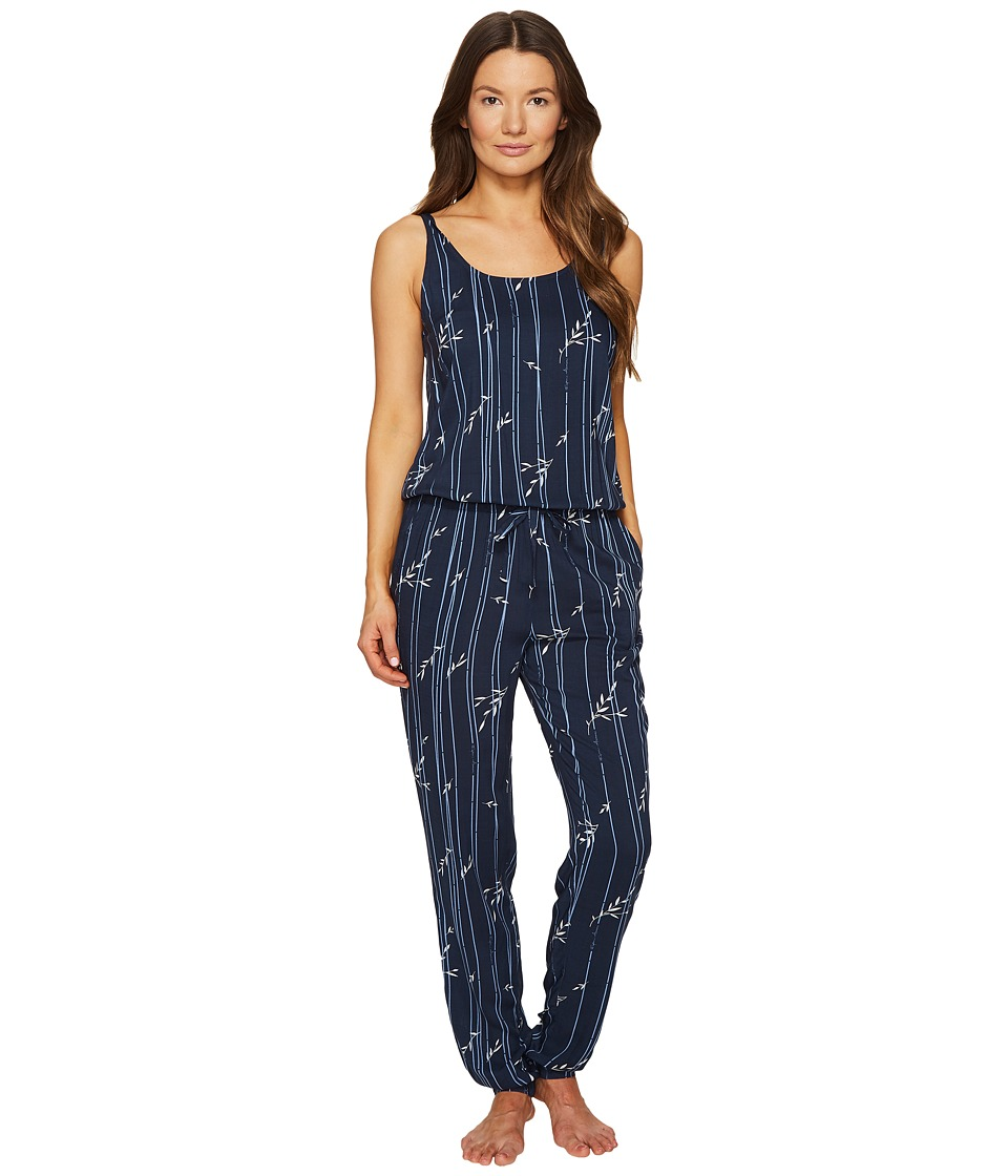 Emporio Armani - Printed Viscose Loungewear Sleeveless Playsuit (Bamboo Print/Marine) Women's Jumpsuit & Rompers One Piece