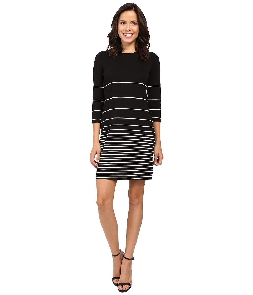 Calvin Klein - 3/4 Sleeve Stripe Shift Dress CD6C1589 (Black/Winter White) Women's Dress