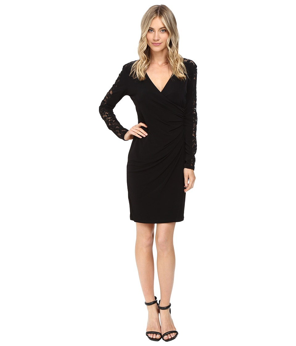 Calvin Klein - Long Sleeve Wrap Dress with Lace Inserts CD6A1774 (Black) Women's Dress