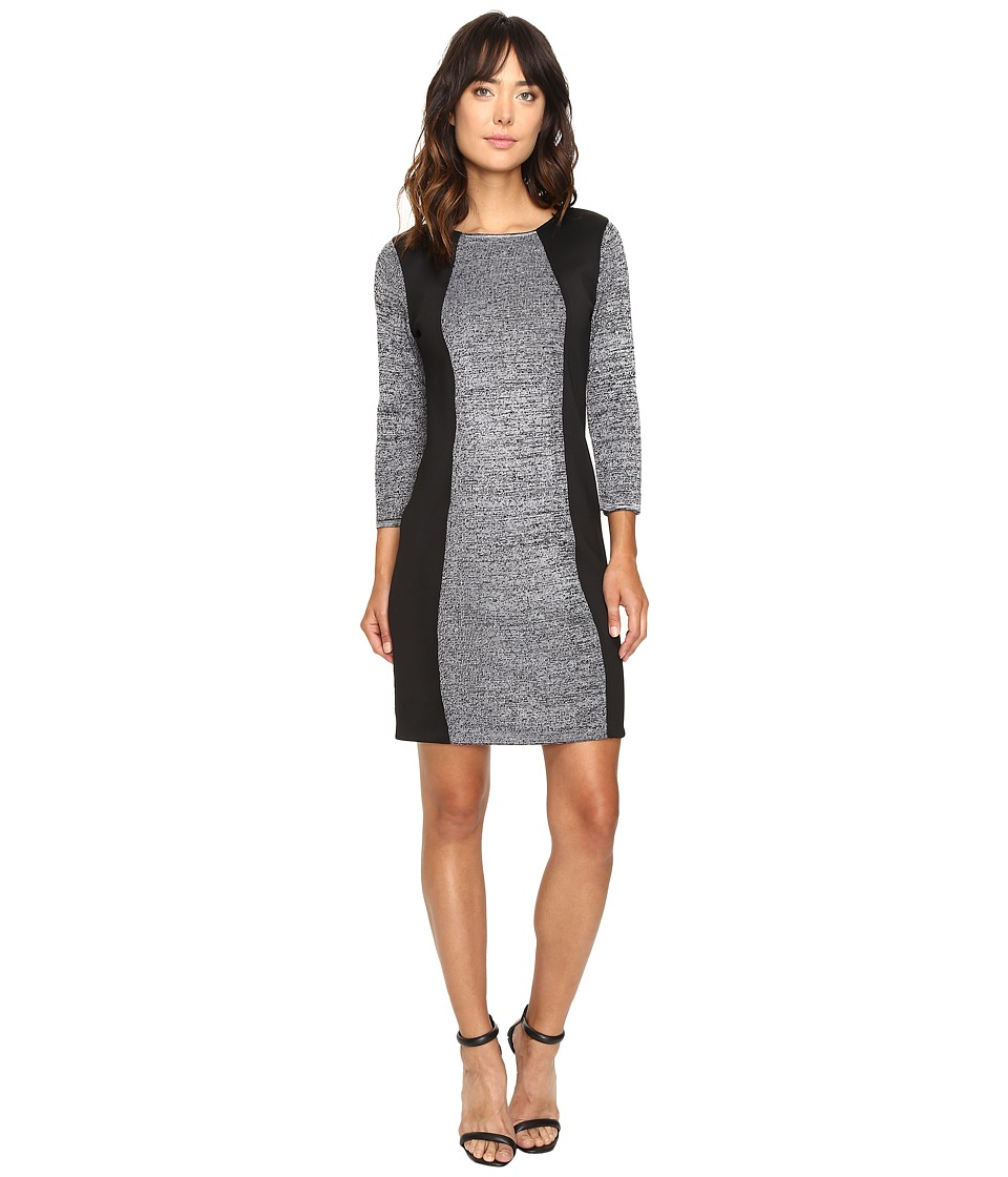 Calvin Klein - Sheather Sweater Dress with Scuba Insert CD6W2W9F (Black/Winter White) Women's Dress