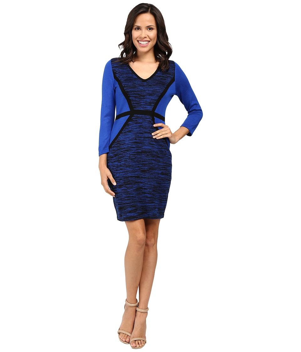 Calvin Klein - 3/4 Sleeve Color Block Sweater Dress CD6W1816 (Black/Atlantic) Women's Dress