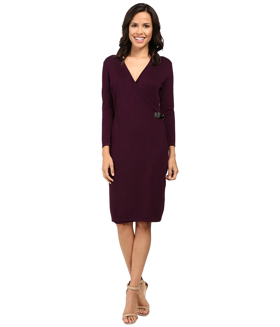 Calvin Klein - Long Sleeve Mock Wrap Sweater Dress CD6W1642 (Aubergine) Women's Dress