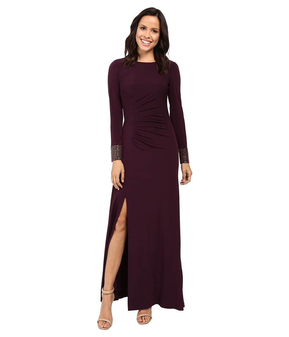 Calvin Klein Front Ruched Gown with Beading on Cuff CD6B1694 (Aubergine) Women