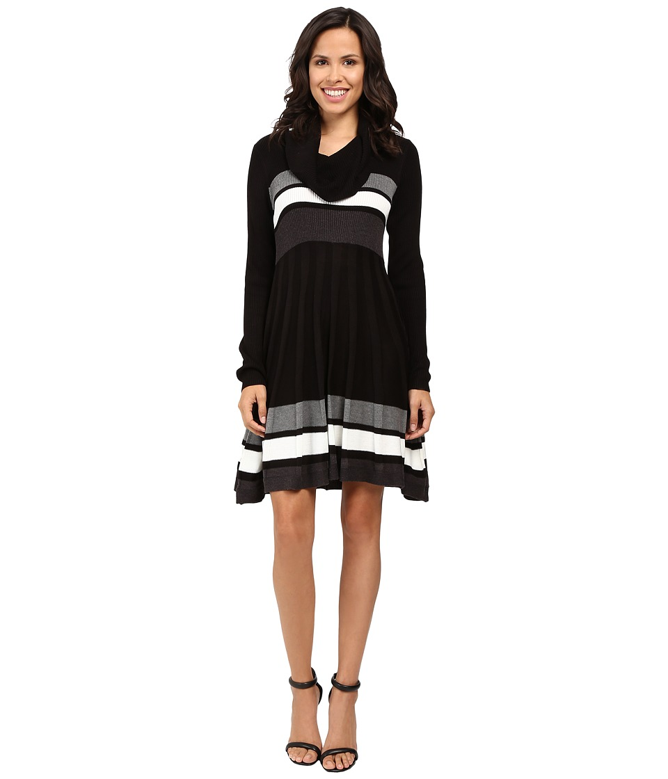 Calvin Klein - Color Block Fit and Flare Sweater Dress CD6W4PU5 (Black Multi) Women's Dress