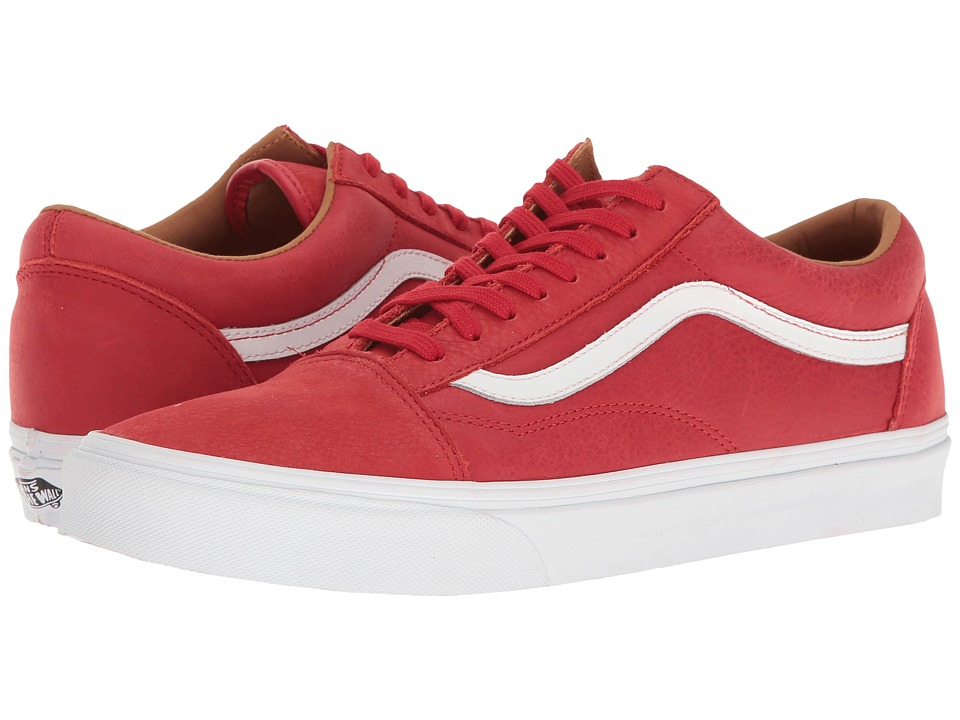 Vans - Old Skool ((Premium Leather) Racing Red/True White) Skate Shoes