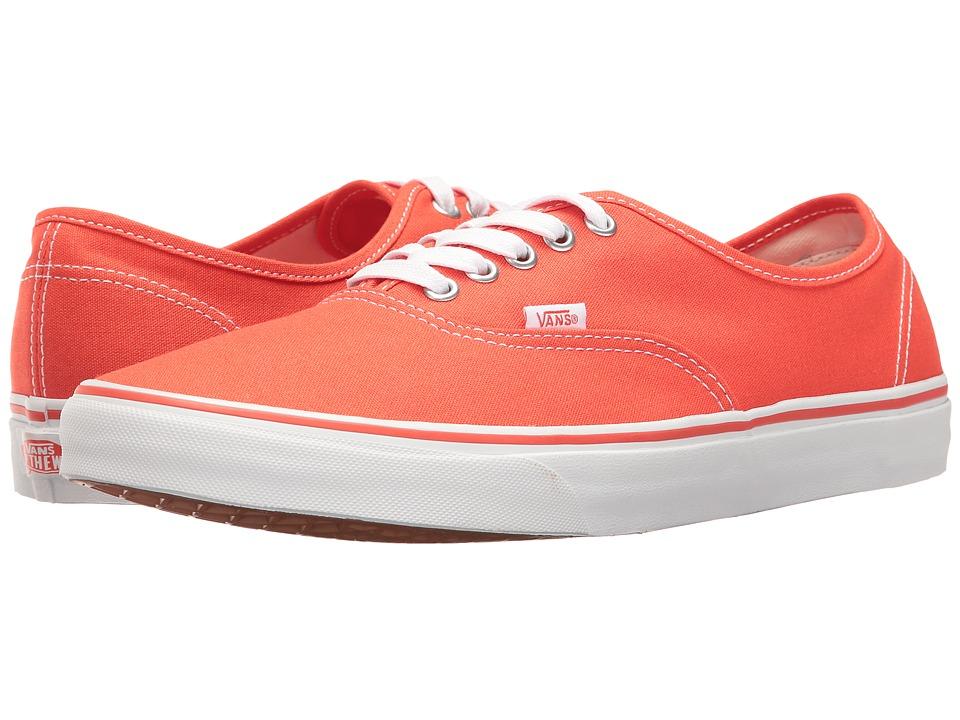 Vans - Authentictm ((Canvas) Cherry Tomato/True White) Skate Shoes