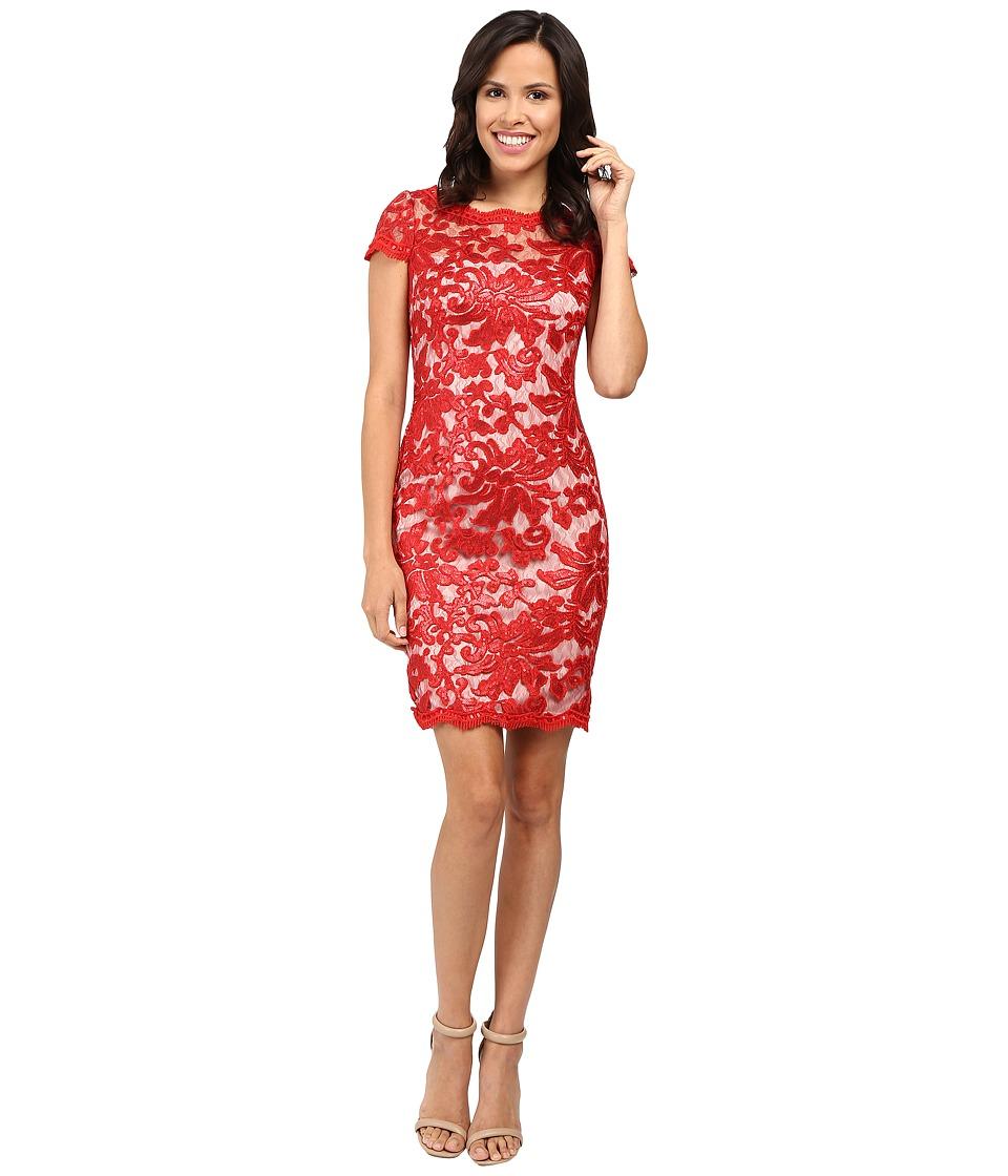 Calvin Klein - Short Sleeve Lace Sequin Sheath Dress CD6B1X6R (Fire) Women's Dress