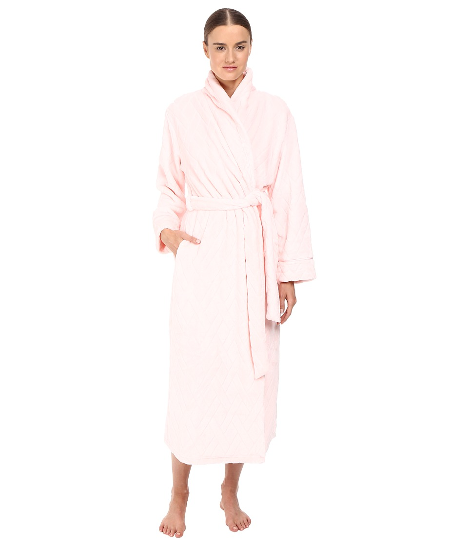 Oscar de la Renta - Embossed Plush Long Robe (Light Pink) Women's Robe