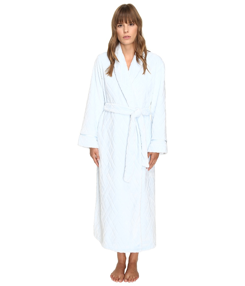 Oscar de la Renta - Embossed Plush Long Robe (Ice Blue) Women's Robe