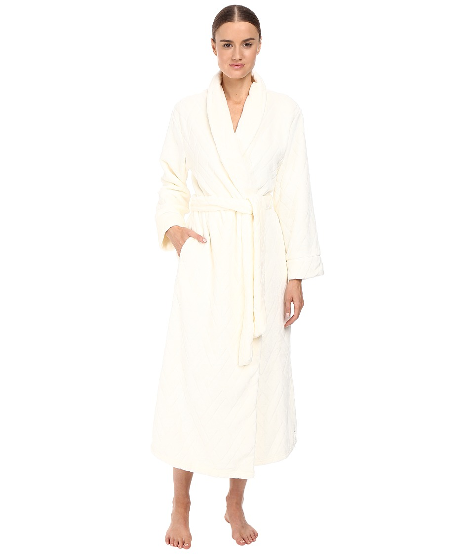 Oscar de la Renta - Embossed Plush Long Robe (Champagne) Women's Robe