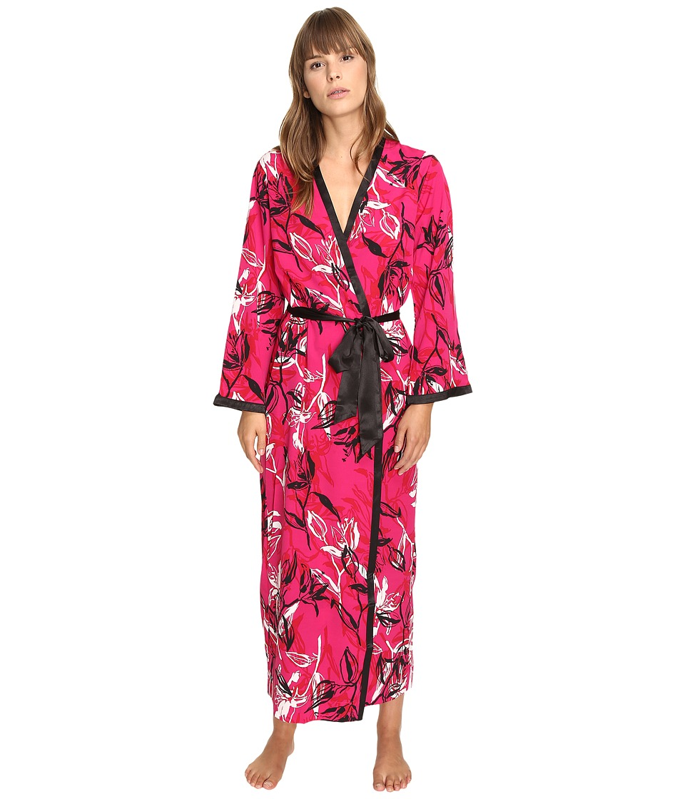 Oscar de la Renta - Printed Poly Crepe Long Robe (Berry Print) Women's Robe