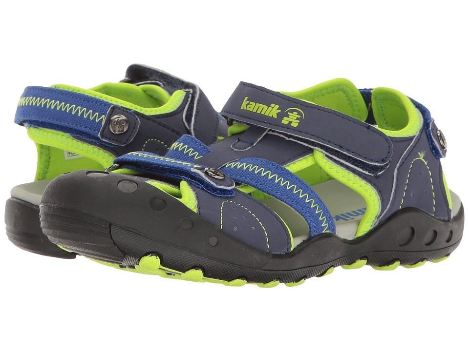 Kamik Kids Twig (Little Kid/Big Kid) (Navy/Lime) Boys Shoes