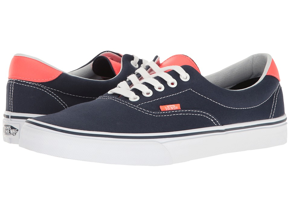 Vans Era 59 ((Neon Leather) Dress Blues/Neon Red) Skate Shoes