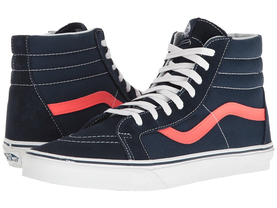 Vans - SK8-Hi Reissue ((Neon Leather) Dress Blues/Neon Red) Skate Shoes