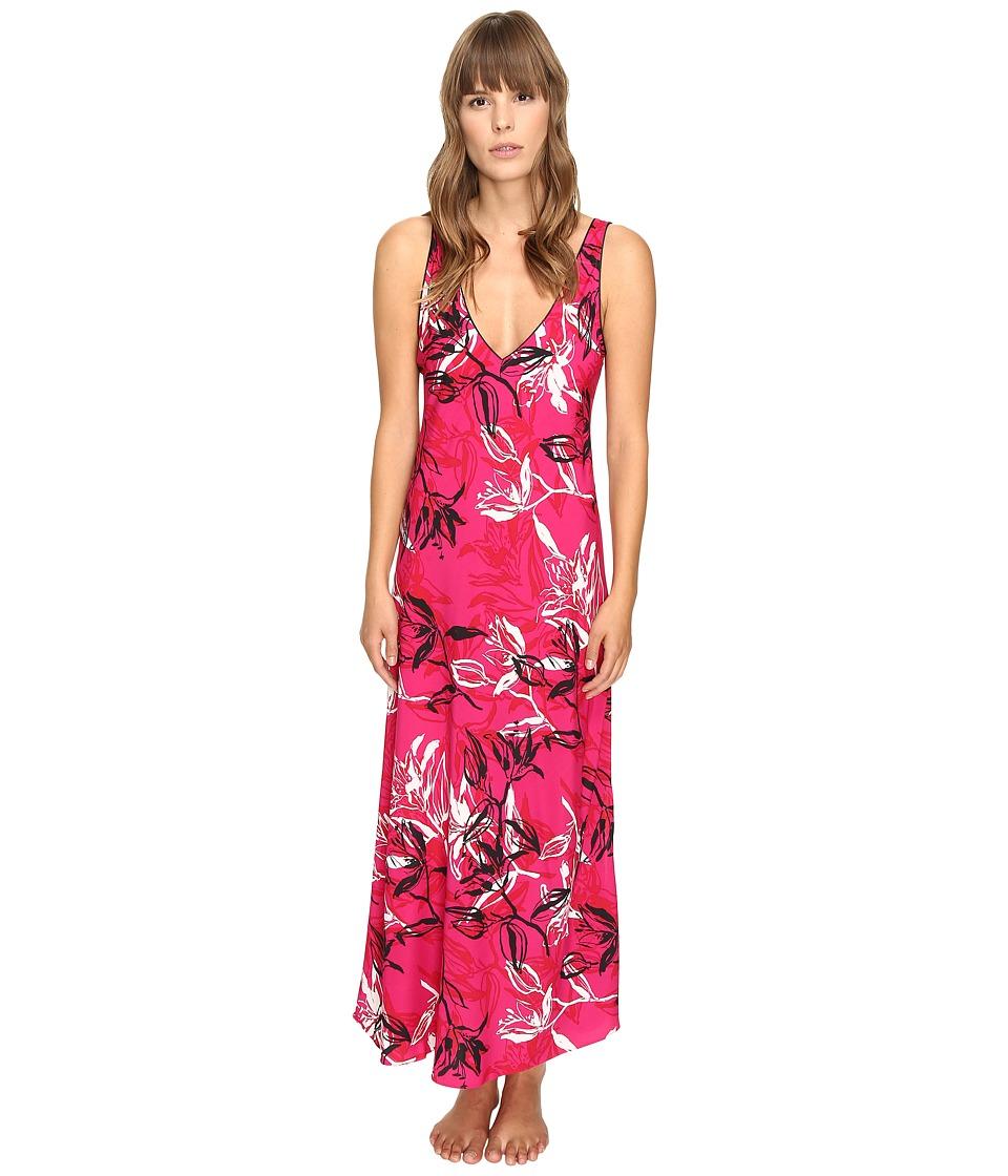 Oscar de la Renta - Printed Poly Crepe Long Gown (Berry Print) Women's Pajama
