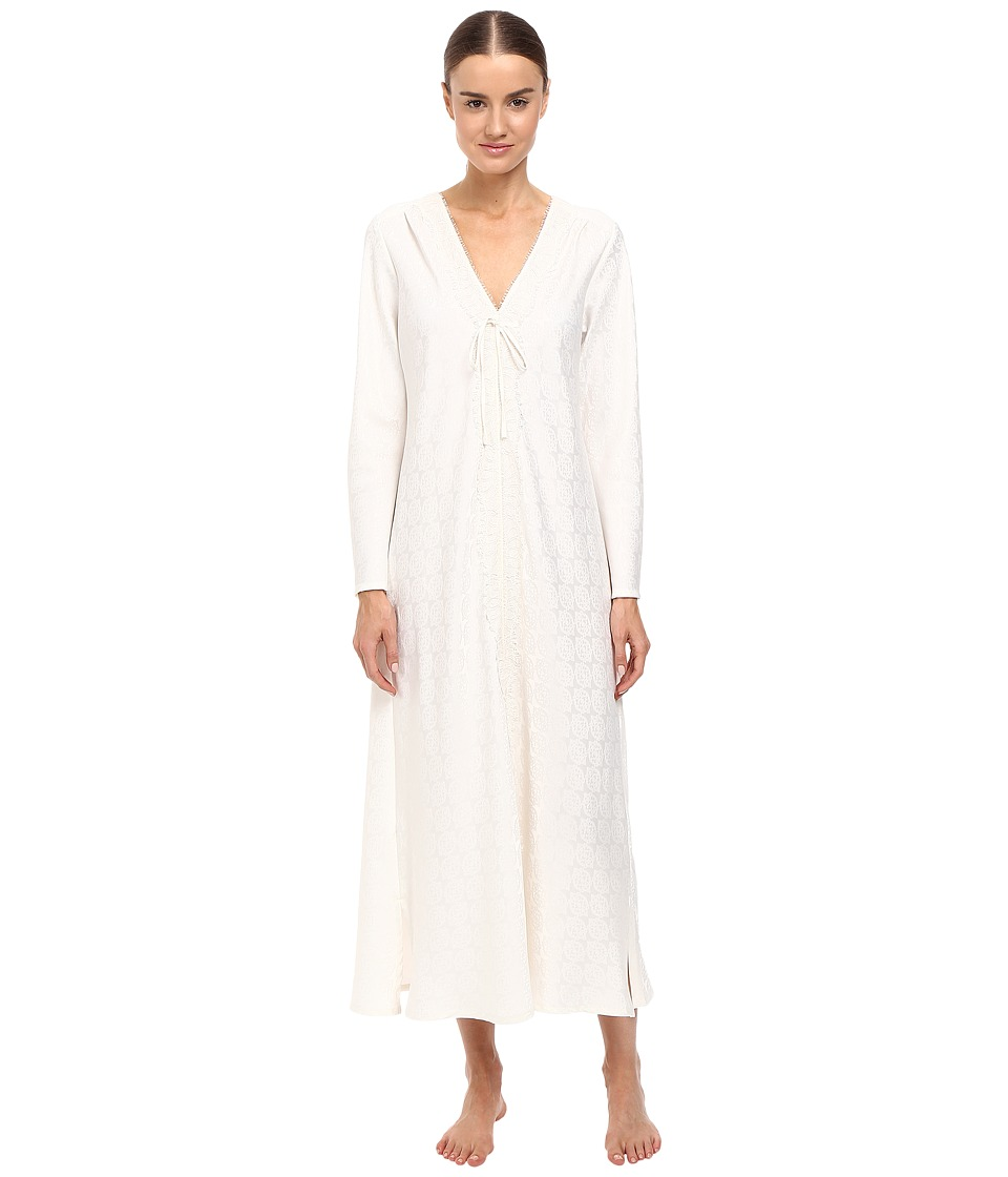 Oscar de la Renta - Brush Back Satin Long Gown (Champagne) Women's Pajama