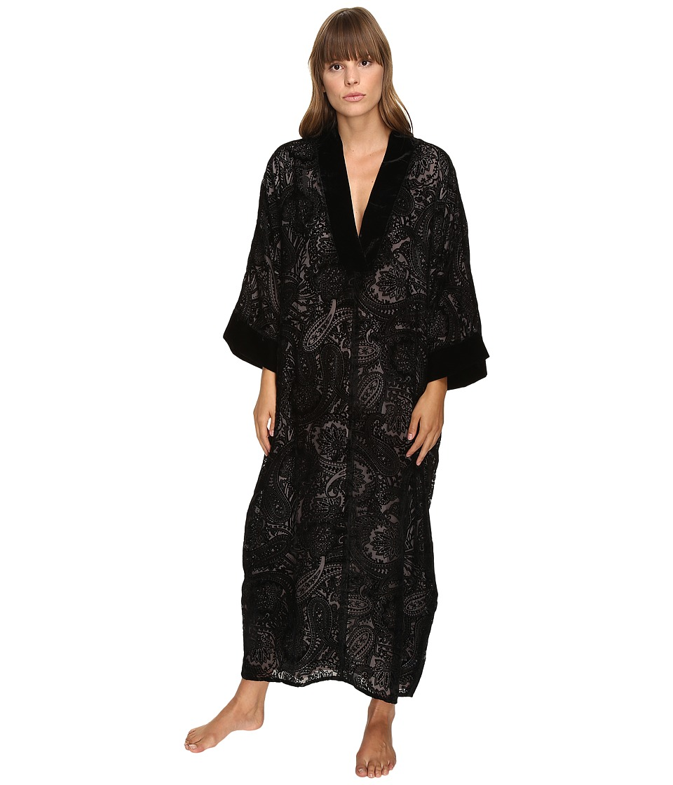 Oscar de la Renta - Velvet Devore Caftan (Black) Women's Pajama