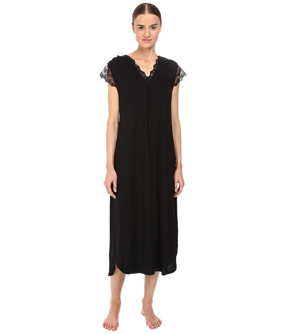 Oscar de la Renta - Solid Luxe Jersey Long Gown (Black) Women's Pajama