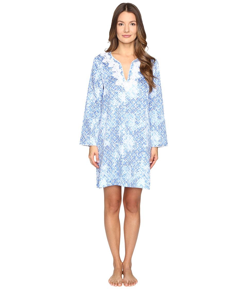 Oscar de la Renta - Printed Cotton Sateen Sleepshirt (Blue Moroccan Trellis) Women's Pajama