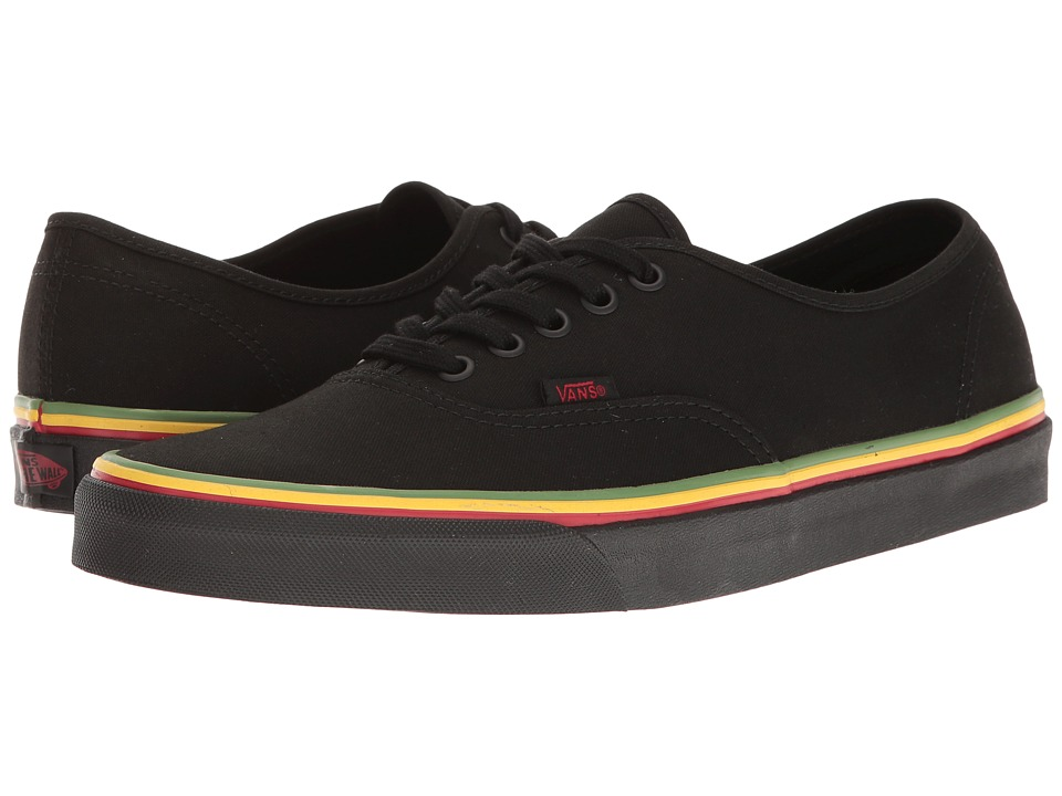 Vans - Authentictm ((Rasta) Black/Black) Skate Shoes
