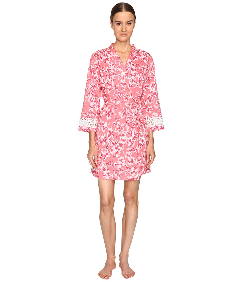 Oscar de la Renta - Printed Pima Cotton Wrap (Coral Hibiscus Ikat) Women's Pajama