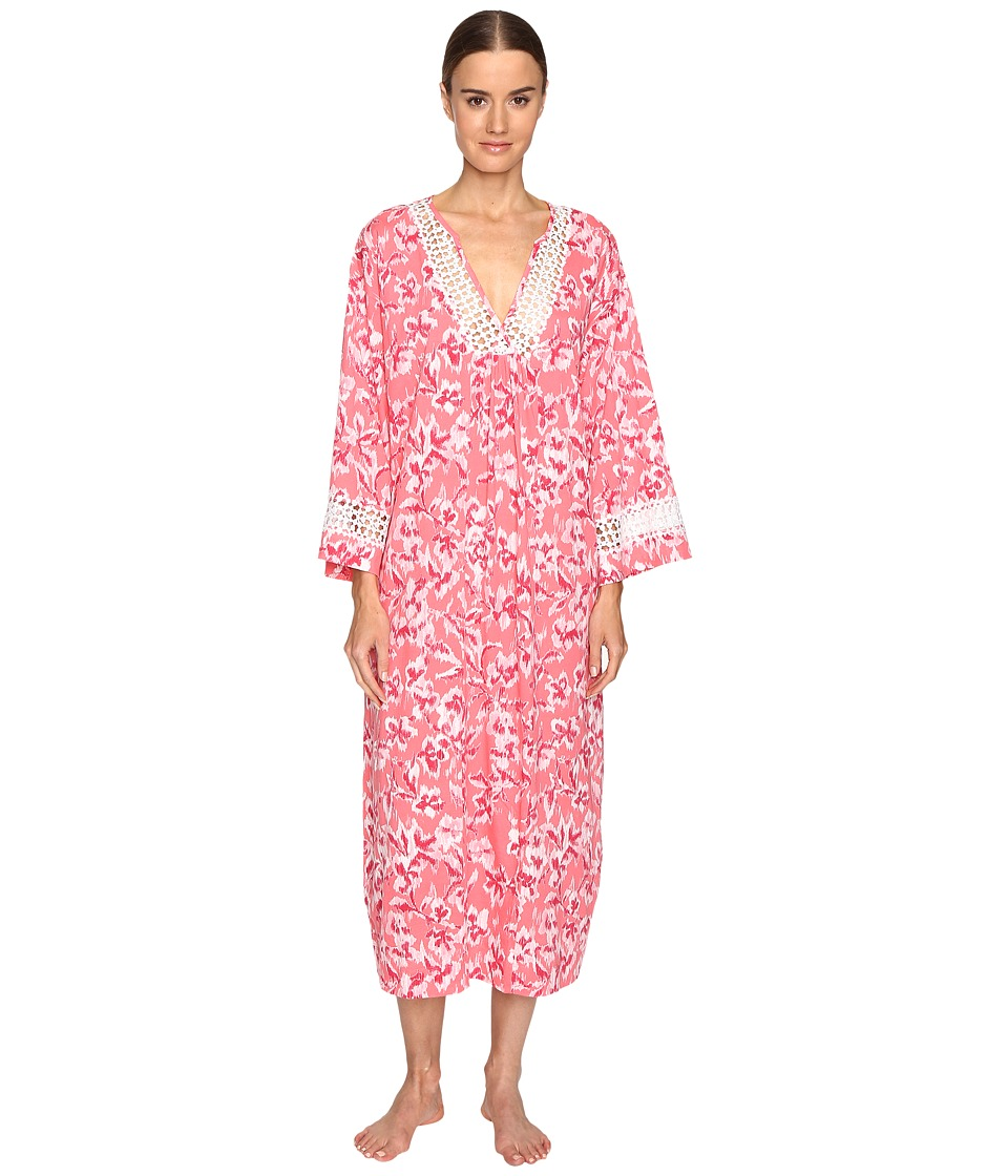 Oscar de la Renta - Printed Pima Caftan (Coral Hibiscus Ikat) Women's Pajama