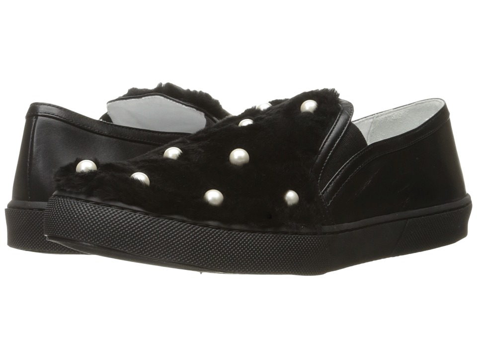 Boutique Moschino - Pearl on Fur Sneakers (Black Ecofur/Black) Women's Lace up casual Shoes