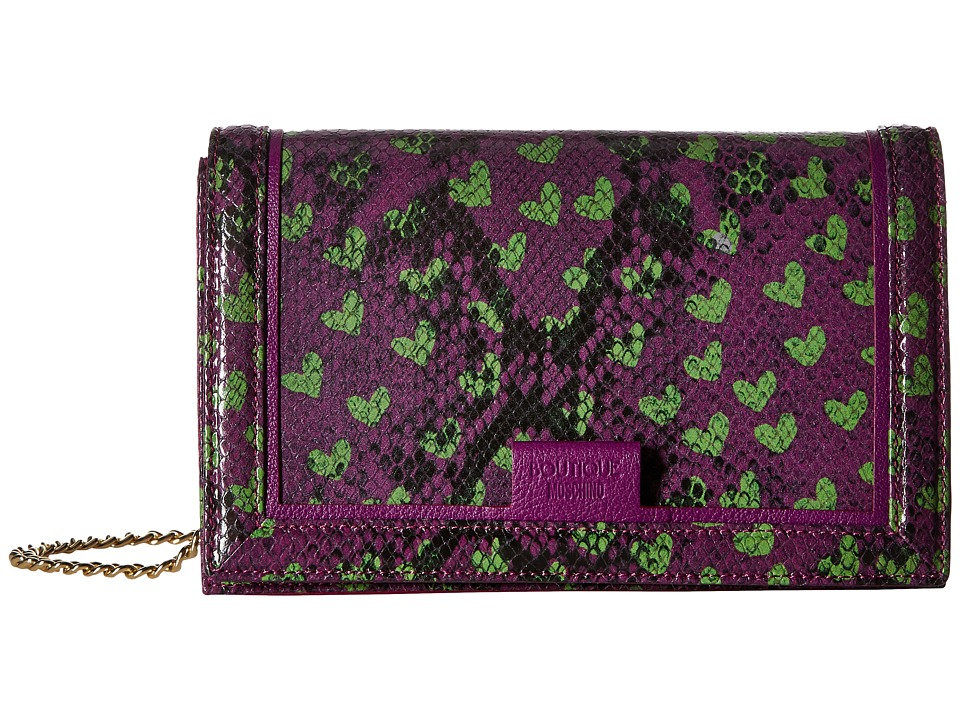 Boutique Moschino - Python and Hearts Print Crossbody (Fantasy Print Violet) Cross Body Handbags