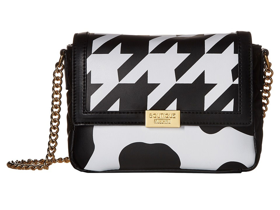 Boutique Moschino - Cow and Pied De Poule Print Crossbody (Fantasy Print Violet) Cross Body Handbags