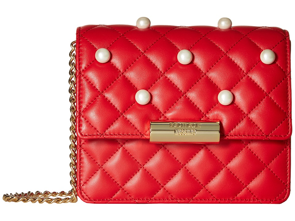 Boutique Moschino - Quilting and Pearls Crossbody (Red 0115) Cross Body Handbags